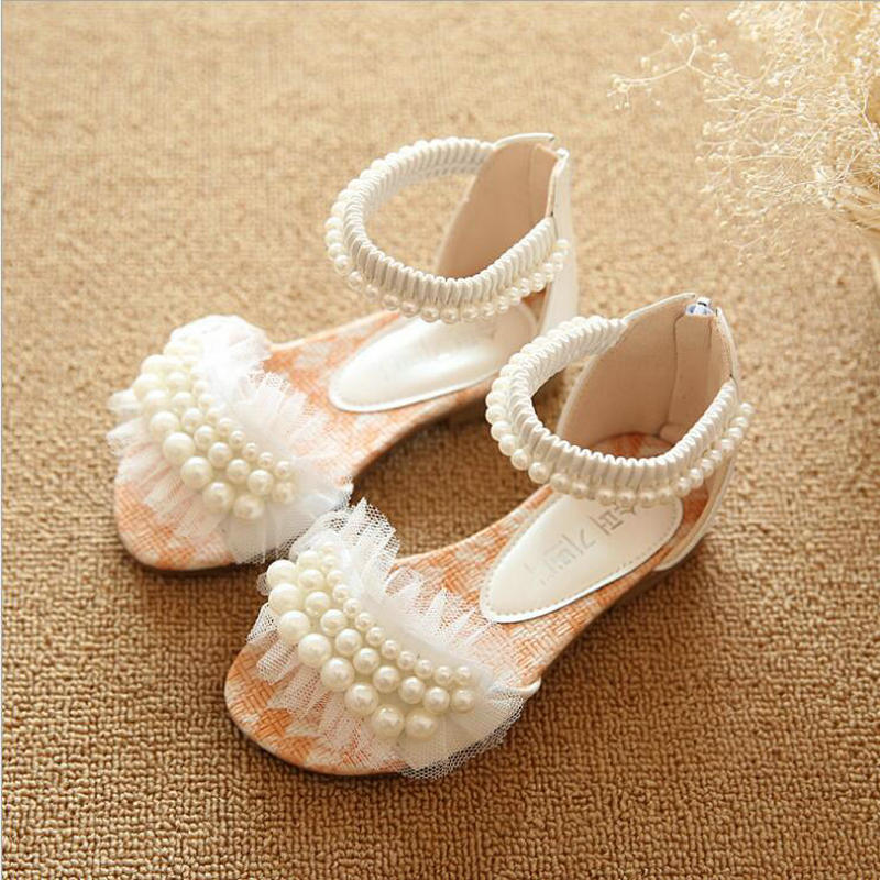 Summer Model Children Sandals Girls Princess Beautiful Beading Shoes  Kids Flat Sandals Baby Girls Roman Shoes White Pink Purple