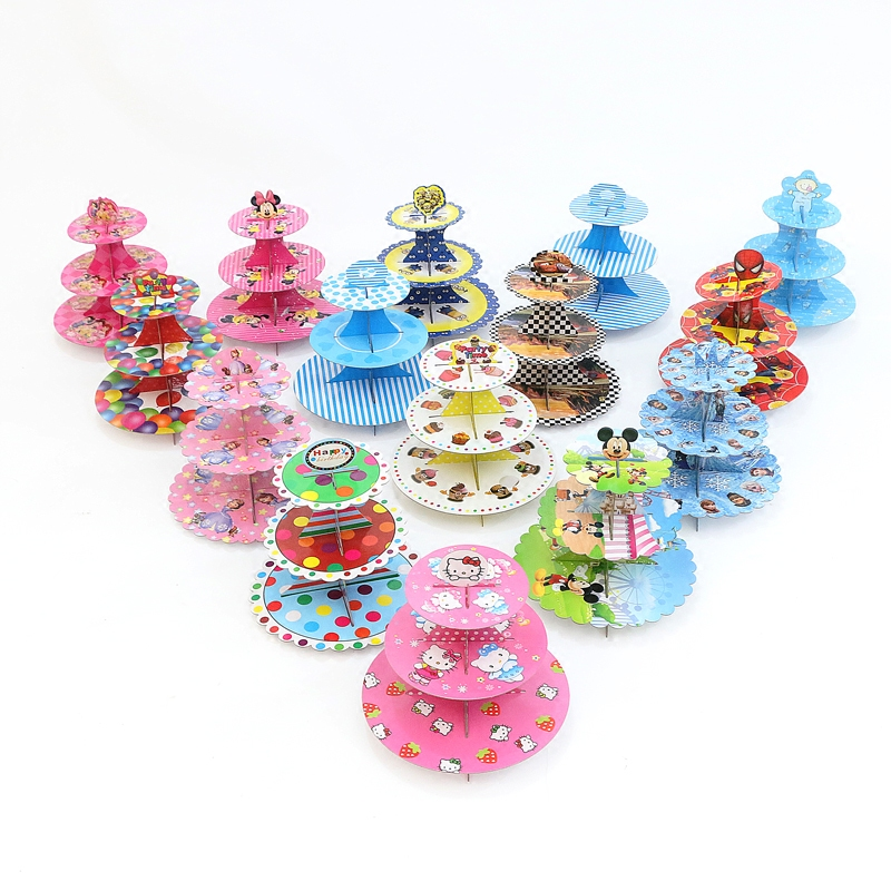 1st birthday Cupcake Stand baby girl boy children birthday party decorations kids party supplies disposable paper cake stand