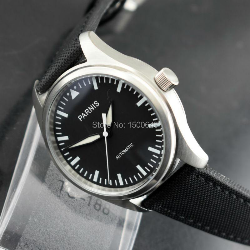 P arnisใหม่42มิลลิเมตรสีดำหน้าปัดเรืองแสงนาฬิกามือสแตนเลสกรณีสีดำผ้า/ผ้าใบหนังสายอัตโนมัติผู้ชายของนาฬิกา-ใน นาฬิกาข้อมือกลไก จาก นาฬิกาข้อมือ บน   3