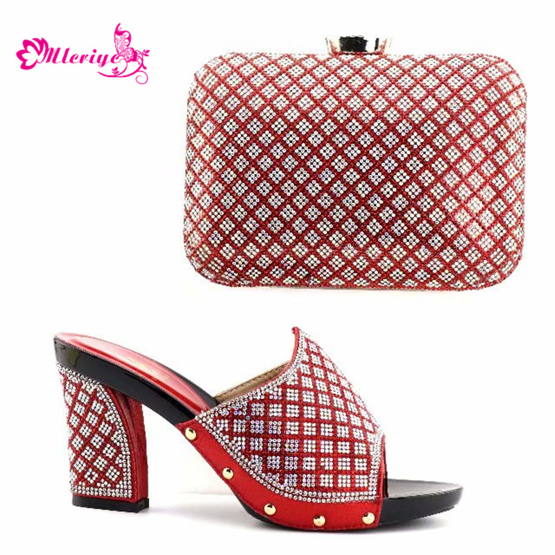 New Arrival Italian Shoes with Matching Bags Set Decorated with Rhinestone Shoe and Matching Bag for Nigeria Party African Shoes new arrival african rhinestone hig heels shoes and bags set new italian woman orange color shoes and bags set for party bch 381