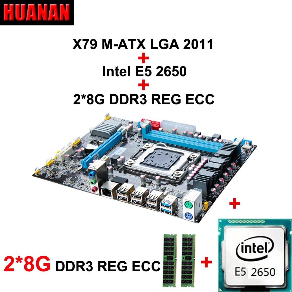 Nouveau HUANAN X79 carte mère CPU combos Xeon E5 2650 CPU RAM 16G (2*8G) DDR3 REG ECC double canaux tous sont testés avant l'expédition