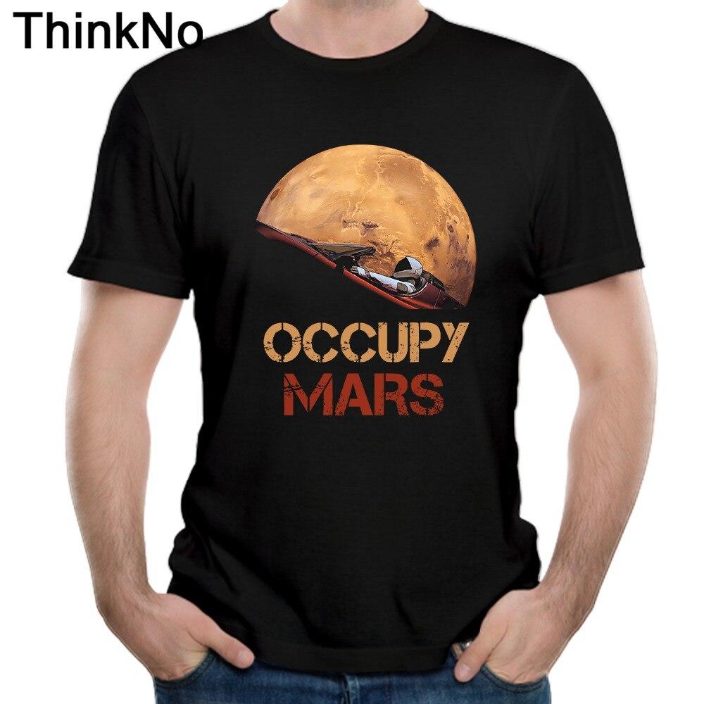 Ocupam Marte Espaço X t shirt Camiseta Crewneck Casual Para O Sexo Masculino Frete Grátis Plus Size Camiseta 100% Algodão