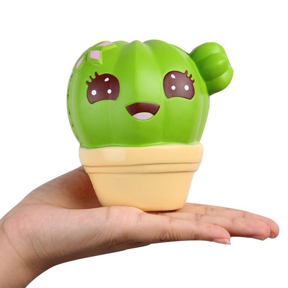 Squishy Cactus Kawaii Cartoon Smile Face Cactus Cream Scented Squishy Slow Rising Squeeze Strap Kids Christmas Toy A617