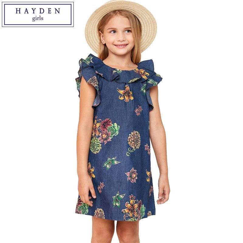 HAYDEN Girls Denim Floral Dresses Summer 2017 Children Clothes Girls Ruffle Dress Teenagers Short Sleeve Cotton Dress Size 10 12 choker neck ruffle bodycon dress short club dresses