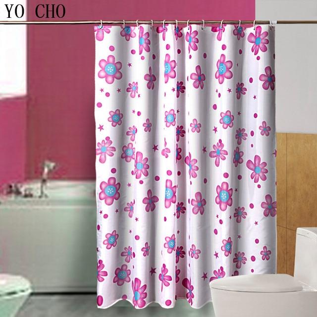 Waterproof Bathroom Polyester Shower Curtain Kids Carton Pink Sunflower Bath Curtains Hooks