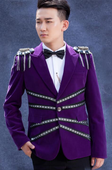 Purple men suits designs velvet badg stage costumes for singers men blazer dance clothes jacket star style formal dress punk