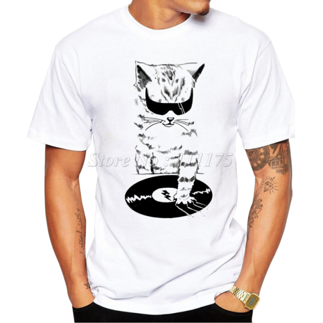 Buy 2017 men 39 s funny dj music cat design Dj t shirt design