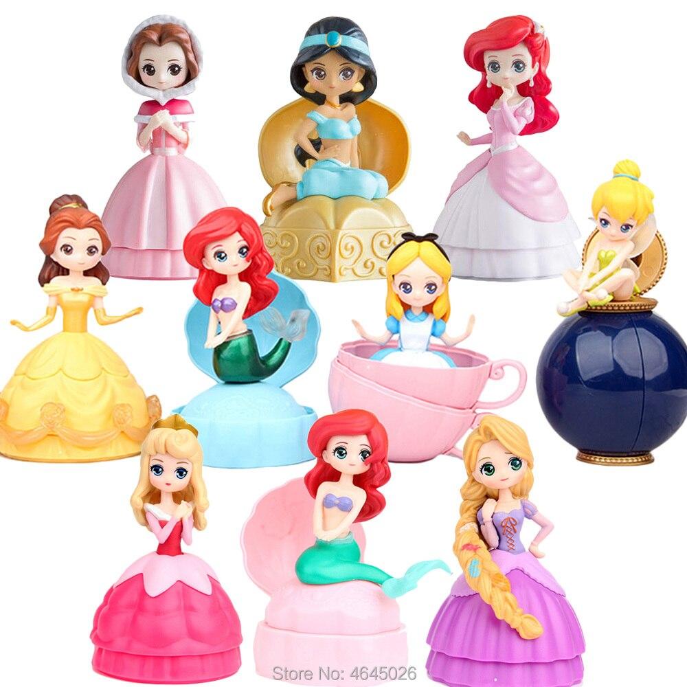 Lol Princess Ball Action Figures Mermaid Rapunzel Cinderella Aurora Tinker Bell Figurines Dolls Kids Toys For Children Girls Set
