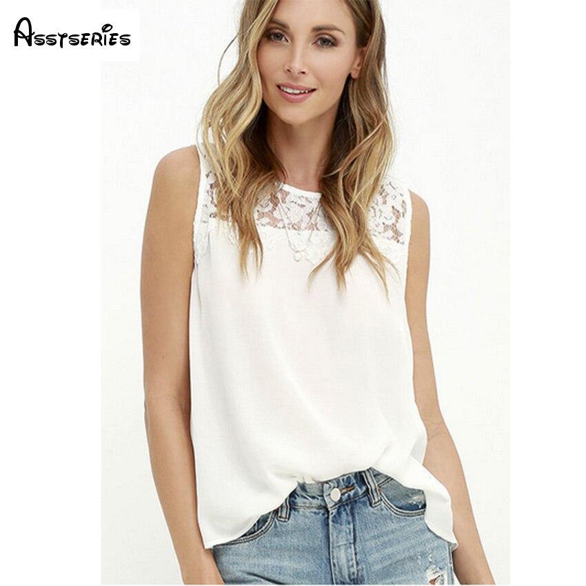 Women Sexy Shirt Bodysuit Sleeveless Tank Tops Summer Casual White Stitching Lace Chiffon Shirt Sleeveless Shirt D18