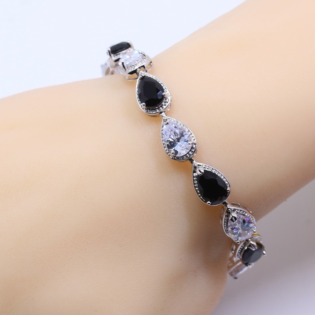 Silver Overlay Water Drop Black Zircon White Crystal Hidden Security Chain  Bracelet For Women Free Shipping B02 e510cf605