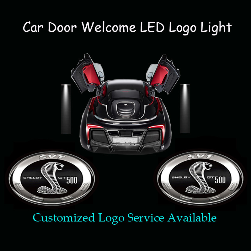 2x car door welcome 3d cobra logo laser projector ghost shadow spotlight led light for ford mustang shelby gt 500 1319