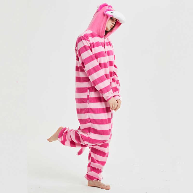 caf7282b6 ... Funny Fleece Cheshire Cat Kigurumi Adult Animal Onesie Pink Pajamas  Winter Bodysuit Cosplay Unisex Sleepwear Halloween ...