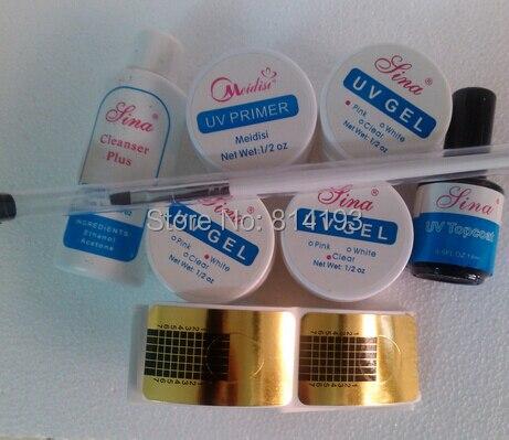 3 Color pink white clear UV GEL polish NAIL KIT Primer  topcoat Nail Form cleanser plus btush pen Tips kits Sets