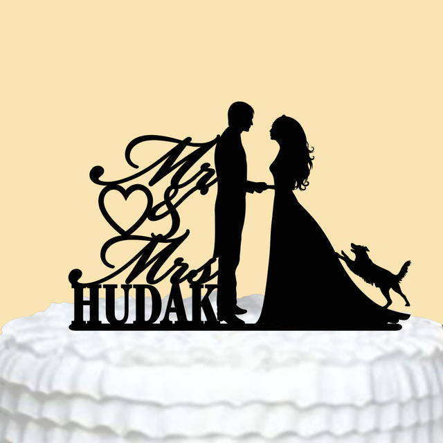 Personalized Wedding Cake Topper Acrylic Mr Mrs Cake Topper with Dog ...