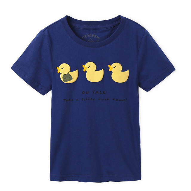 Free Shipping ! Original Designed Premium 100%Cotton Jersey with Yellow Duck Print Short Sleeve boy's t shirt . Exclusive !