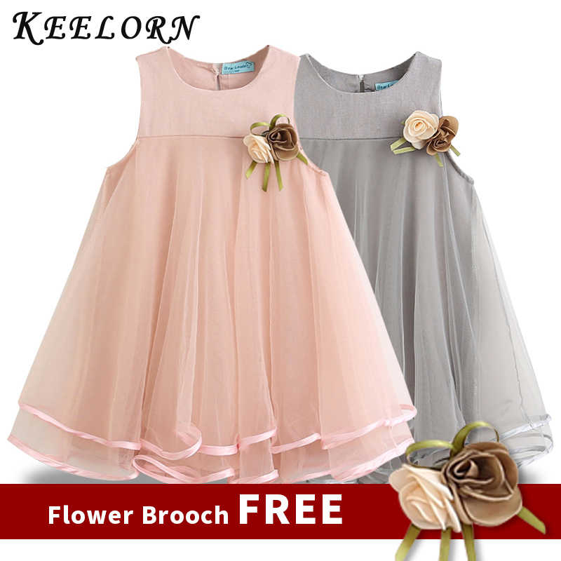 090f2c7730bb Keelorn Girls Dress 2019 Brand Princess Dresses Sleeveless Appliques Floral  Design for Girls Clothes Party Dress