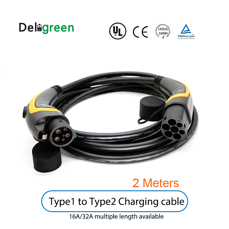 16A 32A 2 Meters J1772  EV Charging Cable SAE Type 1 To Type 2 IEC62196 Charging Station Electric Car Portable Charging Cable