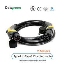 Cable de carga portátil para coche eléctrico, estación de carga portátil de 16A 32A 2 metros J1772 EV tipo 1 a Tipo 2 IEC62196