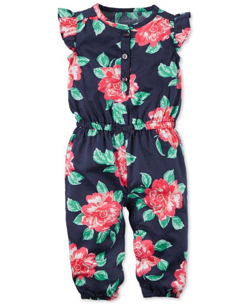 Kids Newborn Baby Girl Clothing Floral Romper Flower Cute Short Sleeve Jumpsuit Outfit Clothes Baby Girls