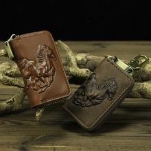 Echtem Leder Autoschlüssel Brieftasche Männer Schlüsselhalter Haushälterin Schlüssel Keychain Abdeckungen Reißverschluss Schlüssel Tasche Tasche Horse Druck
