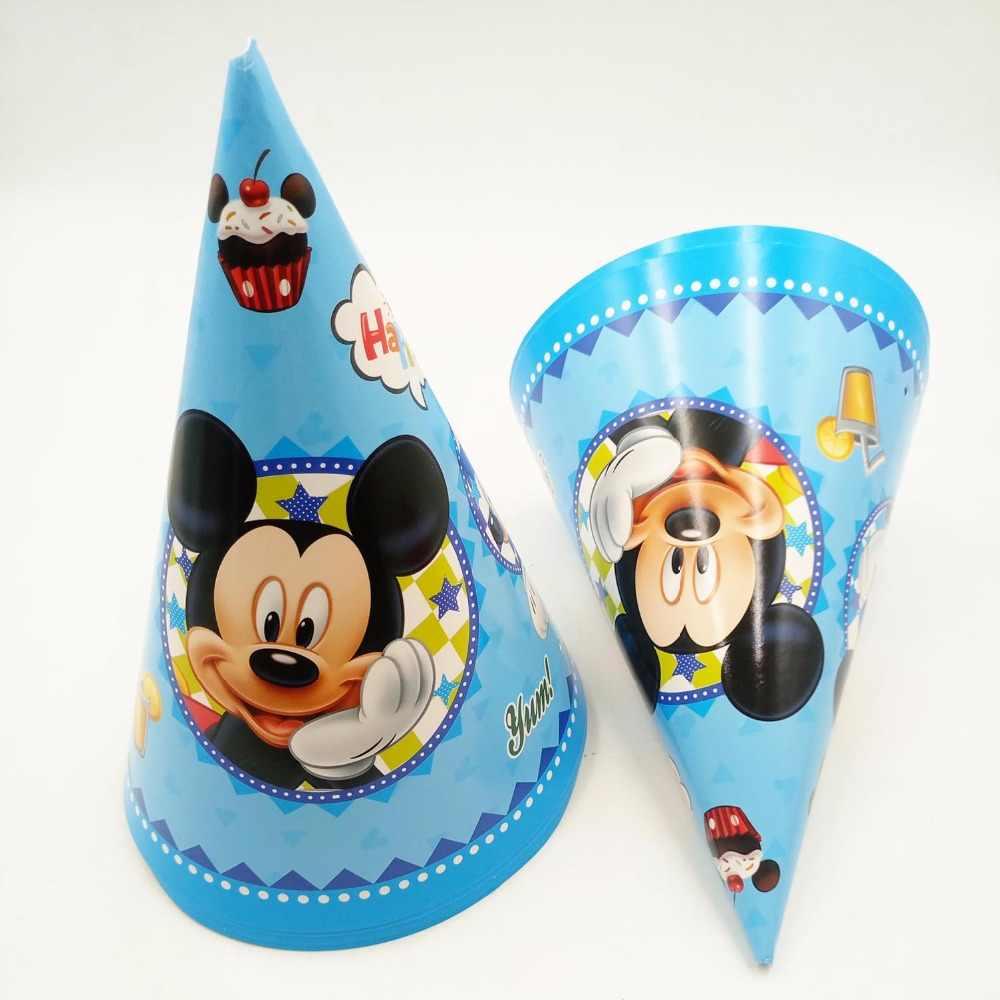 6 шт. 20*14,5 см Микки Маус бумага кепки тема Малыш Мальчик день рождения поставки украшения для детей рождения