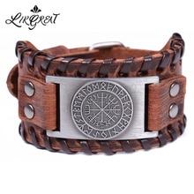 LIKGREAT Viking Vegvisir компас Подвески, браслет, нордические руны, очаровательный браслет для мужчин, Odin черный коричневый кожаный браслет, ювелирные изделия