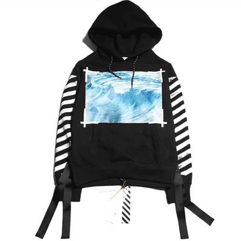 d00ac381 Hip hop street hoodie OFF WHITE C/O VIRGIL ABLOH hooded ocean wave Pyrex  vision stripe print men sweatshirt