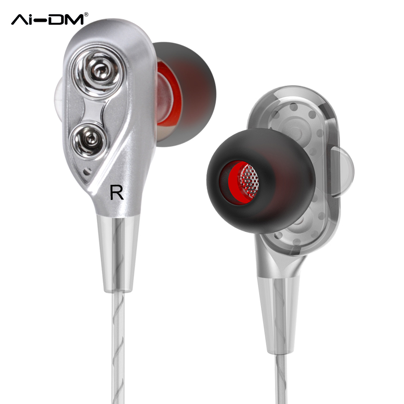 AIDM Dual Dynamic Drivers Earphones Headphones with Mic Bass Stereo Ear Wired Headsets For iPhone Xiaomi MP3 Auricolari Ecouteur xiaomi hybrid dual drivers earphones 2 black