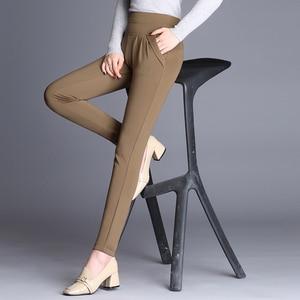 Image 5 - Plus Size High Waist Pants Women Vintage Pleated Harem Pants Loose Trousers Stretch Casual Office Pants Female Pantalon Mujer