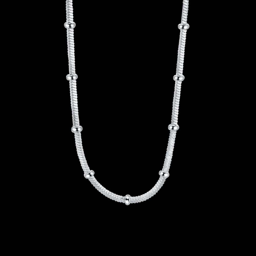 925 Sterling Silver Rose Gold Color Polished Beads Chain Choker Necklace For Women Sterling-Silver-Jewelry Chain