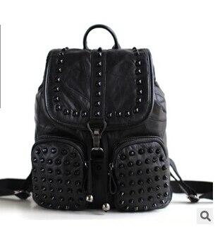 2017 genuine leather sheepskin lady s backpack korean style preppy backpack rivet travel bag