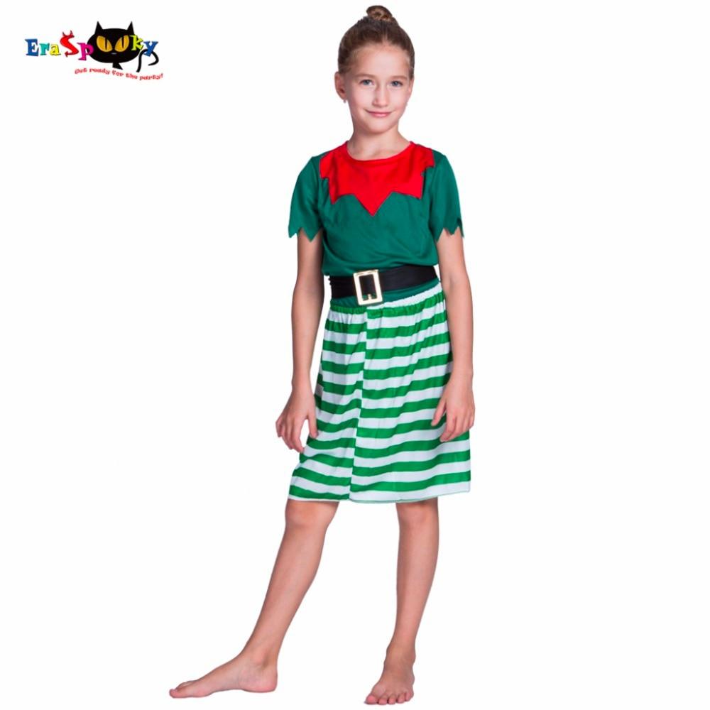 Dívka elf Cosplay kostým Halloween kostýmy Děti děti zelené šaty na dovolenou vánoční karneval s headpiece