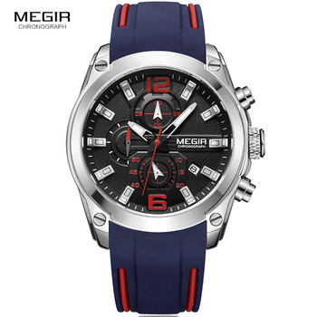 Megir Chronograph Luminous Waterproof Silicone Rubber Strap Quartz Watches 2