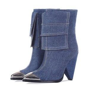 Image 3 - MORAZORA 2020 yeni moda yarım çizmeler kadınlar Metal sivri burun denim yüksek topuklu ayakkabılar vintage sonbahar kış Chelsea çizmeler kadın