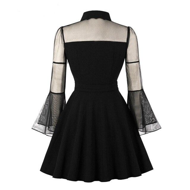 Birthday Dress Women Elegant Black Mesh Patchwork Flare Sleeve Vintage  1920s Mom Cocktail Party Plus Size Pleated Skater Dress