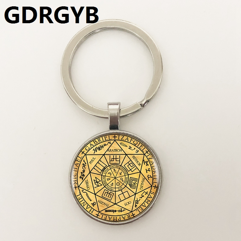 GDRGYB 2019 Seals Of The Seven Archangels Key Buckle Statement Silver Key Buckle For Women Dress Accessories Glass Photo Jewerly