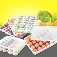 Grid egg storage box food container keep eggs fresh refrigerator organizer kitchen dumplings containers