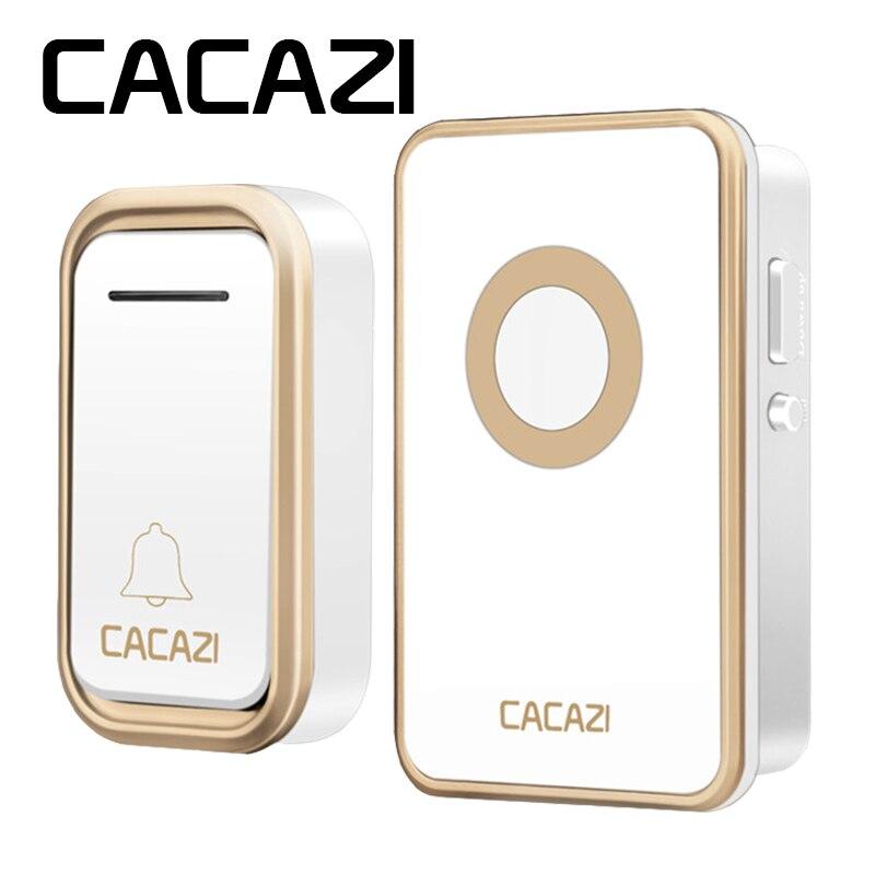 CACAZI Sans Fil Sonnette Étanche Batterie Bouton 300 m LED Lumière UE plug Récepteur Accueil Sans Fil Cloche 3 Volume 38 Carillon