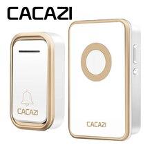 CACAZI Беспроводной дверной звонок Водонепроницаемый Батарея Кнопка 300 м светодиодный свет ЕС plug приемник Главная беспроводной звонок 3 объем 38 перезвон