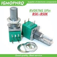 5 pces rv097ns 5 k 10 k 20 k 50 k 100 k 500 k b5k com um interruptor de áudio 5pin eixo 15mm amplificador potenciômetro de vedação igmopnrq