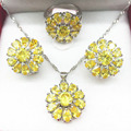 925 Sterling Silver Gold Yellow Jewelry Sets Flower Shaped Earrings/Pendant/Necklace/Rings 6/7/8/9/10 For Women Free shipping