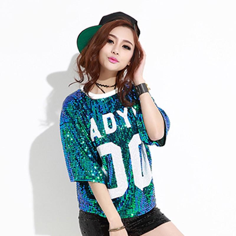 2016 mujeres con la impresión divertida Top de lentejuelas más tamaño de  Navidad Hip Hop Rock Punk Jazz Ropa del Club camiseta MujerUSD 12.54 set 76cd460b7a6