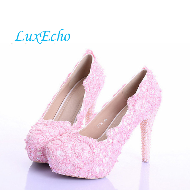 Roze parel bruid schoenen hoge met waterdichte Taiwan jurk schoenen kant ondiepe mond foto genomen damesschoenen
