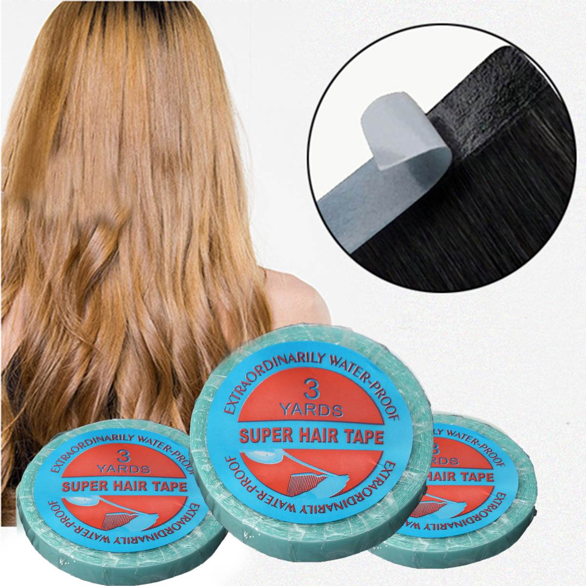 Waterproof Hair Adhesive Tape 1 X 300cm Lace Wig Tape And Glue