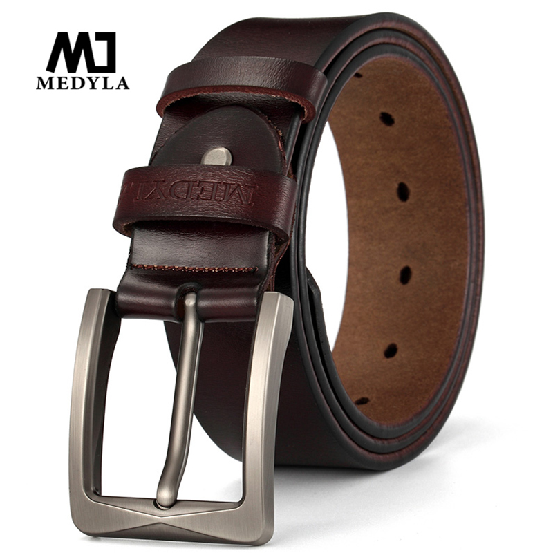 MEDYLA Men's Suit Leather Belt High Quality Natural Leather Brushed Steel Buckle Casual Business Belt For Men 130cm Long Belt
