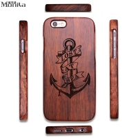 Monila Vintage Retro Pirate Anchor Real Handmade Bamboo Wood Case For Iphone 5 5S SE 6
