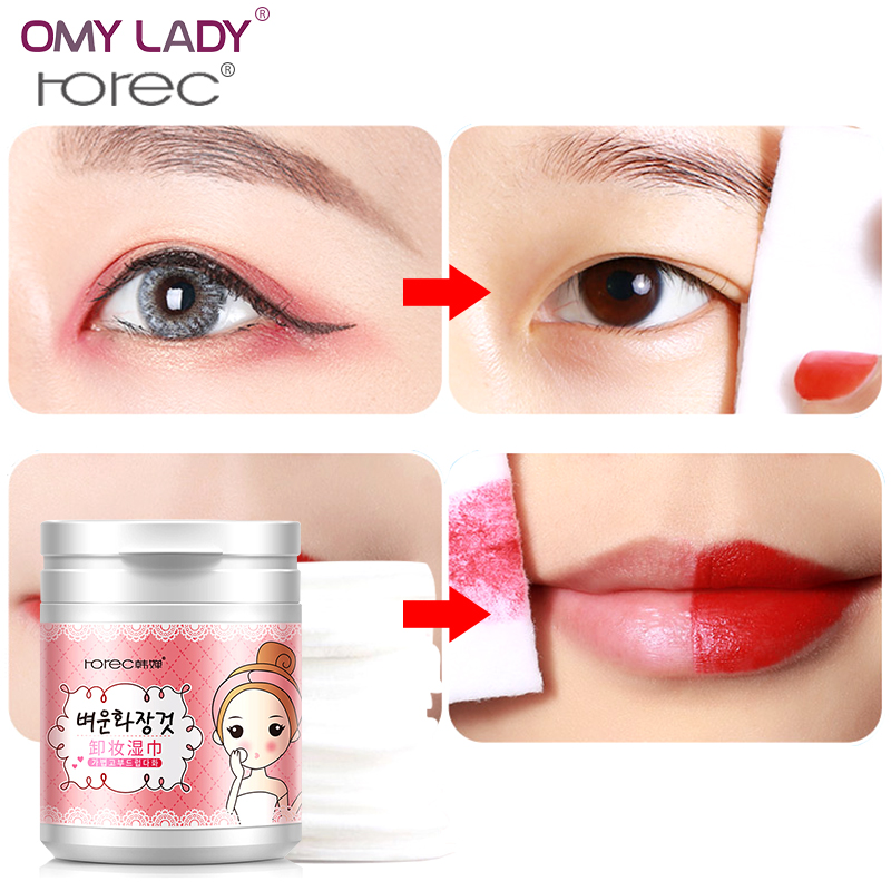 OMY LADY HANCHAN deep & natural make up remover wipes easy to carry remove eyes lips cosmetics vestigital Gentle cleansing wipes
