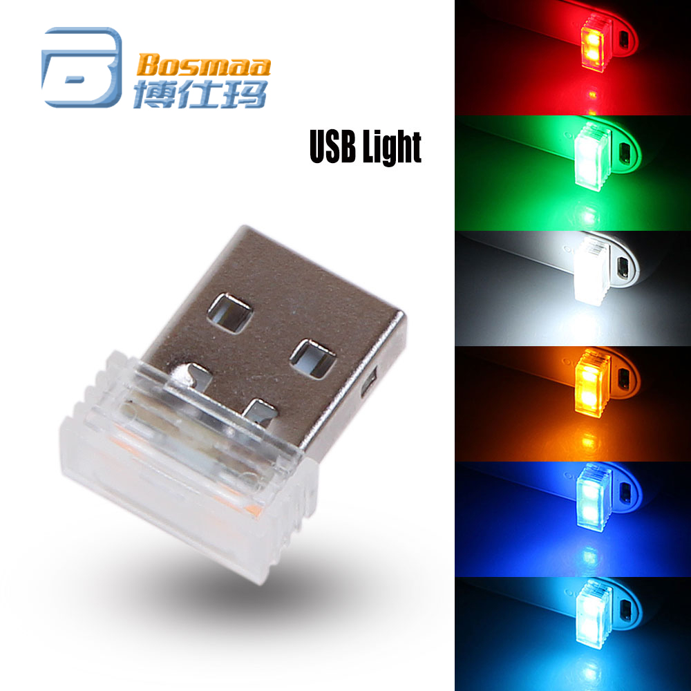 Car Atmosphere Lights 1pc Mini USB LED Car Interior Light Colorful Neon Ambient Lamp Red/Blue/White/Green/Crystal Blue/Orange