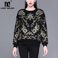 Lady Milan New Arrival Women's O Neck Long Sleeves Embroidery Fashion Designer Elegant Hoodies Sweatshirts Outerwear Blouses