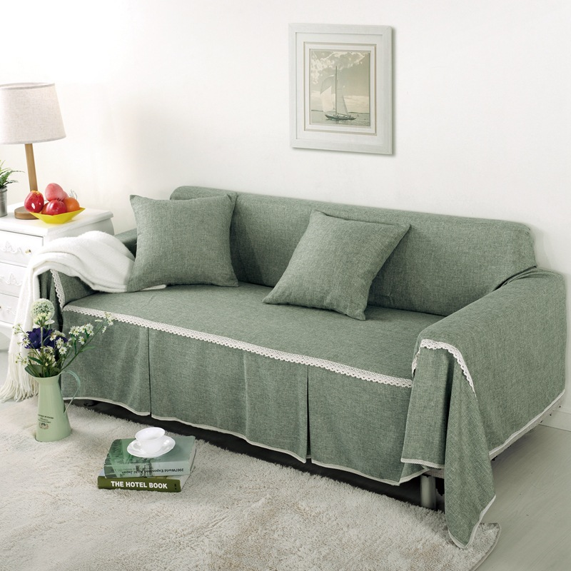 Bank Met Dubbele Chaise Longue.Koreaanse Sofa Hoes Effen Linnen Cover Voor Couch Pastorale Chaise